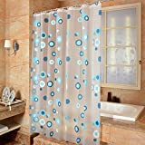 Haosen 180x180cm PEVA-Material Hotel WC Trennwand Vorhang Badezimmer Duschvorhang Trennwand Vorhang - Verdicken Wasserdichte Mehltau (Blue Circle)