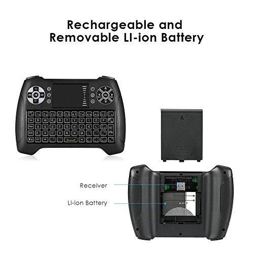 iLifeSmart Teclado Mini Inalambrico Retroiluminado Touchpad Ergonomico 2.4GHz Wireless para Smart TV, HTPC, PC, Android TV Box, Xbox 360, PS3