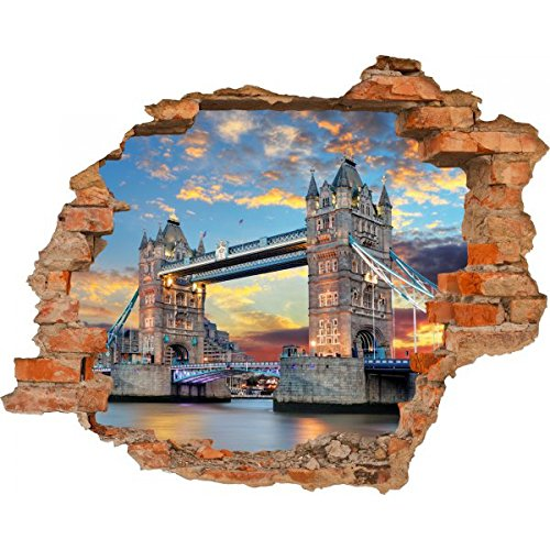Haus und Deko Wandbild Sticker 3D Foto Tapete Wandtattoo ca. 125x100 cm #1480 (Tower Bridge)