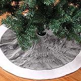 Weihnachtsbaum Decke, Weihnachtsbaum Rock Dekoration Kurzer Plüsch Weiß Grau Weihnachtsbaumdecke Stickerei Weihnachtsbaum Röcke Weihnachtsschmuck Weihnachtsbaum Deko Weihnachtsdeko (Grau, 90cm)