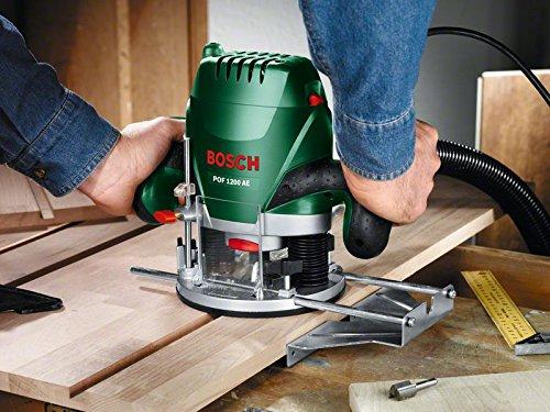 Bosch DIY Oberfräse POF 1200 AE, Nutfräser, Absaugadapter, Gabelschlüssel, Kopierhülse, Parallelanschlag, 3 Spannzangen, Zentrierstift (1.200 W,max. 28.000 1/min, Nutfräser-Ø 8 mm) - 3