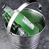 TYUIO Seau à Glace en Acier Inoxydable brossé à Double paroi avec Couvercle, Seau à Glace en métal Robuste avec poignée pour Une Demi-Gallon de Glace et des Bouteilles de vin et de Liqueur glacées.