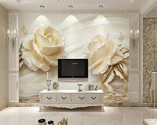 Wapel Anpassen Der Größe 3D Wallpaper 3D Stereo Champagner Rose Wasser Welle Reflexion Tv Hintergrundbild Für Wände 3D Seidenstoff 350x250CM (Wasserdicht Meeres Stereo)