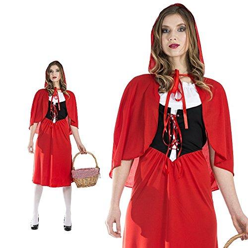 Monster Rotkäppchen Red Riding Hood Damen Kostüm Lang Größe M Karneval 50051 (Riding Red Lange Cape Hood)