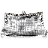 Veroda Brillante de plata para mujer Diamante Cristal Satén Tarde de boda Embrague bolso de mano