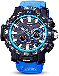 Naladoo Military Men Dashion Watch LED Waterproof Sports Watches Shock Digital Electronic (Blue)