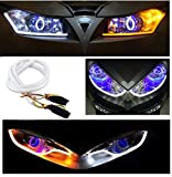 #9: Andride 2PC Audi Style 60cm Car Auto Amber White Sequential Flow Strip LED Flexible DRL Headlight Turn Signal Switchback Light Lamp (Yellow-White)