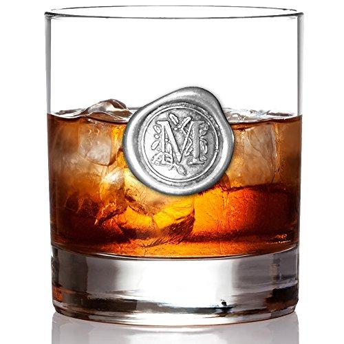 English Pewter Company 11oz Whiskyglas Becher mit Monogramm-Initiale - personalisiertes Geschenk mit Ihrer Wahl der Initiale (M) [MON113]