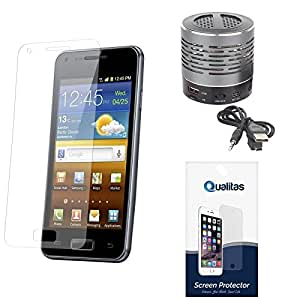 Qualitas Ultra Clear Pack of 2 Anti-Glare Anti-Scratch Anti-Fingerprint Screen Protector for Micromax Canvas Elanza 2 A121 + Wireless Bluetooth Speaker with Party LED Lights