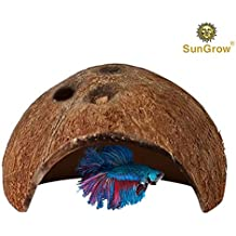 sungrow Betta cueva: hábitat natural hecho de cáscara de coco: soft-textured suave bordes y espacioso guarida para Betta Fish para descansar y raza: mantiene calidad del agua y los niveles de PH