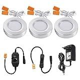 LED Schrankleuchten,TryLight 3000K Warmweiß Unterbauleuchte Dimmbare Küchenlicht mit 2 Schalter Schrankbeleuchtung für Vitrinen & Kleidschrank(9W 810lm)