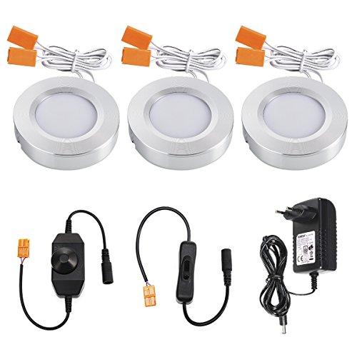 LED Schrankleuchten,TryLight 3000K Warmweiß Unterbauleuchte Dimmbare Küchenlicht mit 2 Schalter Schrankbeleuchtung für Vitrinen & Kleidschrank(9W 810lm) (Schrank-licht-schalter)