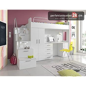 PM_RJA4S18 Hochbett mit Schubladen-Treppen und Schreibtisch (WEIß ...