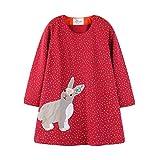 Kindermode Mädchen Prinzessin Kleid Loose Langarm mit Niedlich Kaninchen Weihnachten Kleid Outfits/3T