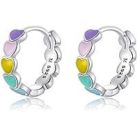 Qings 925 Sterling Silber Herz an Herz Kleine winzige Creolen Farbtropfen Mini-Ohrringe im einfachen Stil…