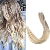 Full Shine 20 Zoll 20 Stuck 50g Per Package Haarfarbe #18 Fading to #22 and #60 Ombre Haarverlangerung Salon Quality Balayage Extensions Echthaar Remy Extensions Tape in Klebeloser