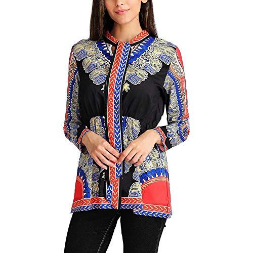 WDFSER Frauen Langarm Vintage Afrika Print Krawatte Neck Cinched Taille Gedrückt Bluse - Cinched Taille Top
