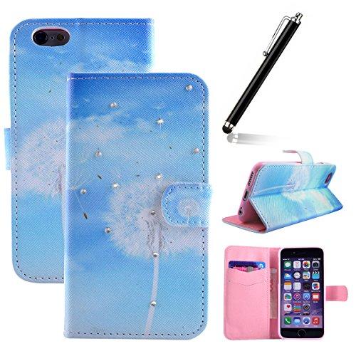 iphone 6 Plus custodia portafoglio, Copertura per iphone 6 5.5, iphone 6 Plus Case Cover, Pelle Custodia per iphone 6 Plus, Flip Case per iphone 6 Plus, Ukayfe Stile Moda Colorful Modello Painted int Dandelion