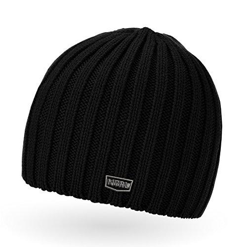 Neverless Coole Strickmütze für Herren, Winter-Mütze, Navik schwarz, unisize