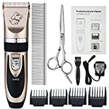 Professional Pet Grooming Clippers,Rechargeable Cordless Pet Hair Clipper for Small Medium Large Dogs Cats and Other Animals,Otstar Low Noise Pet Grooming Trimmer Kit (Black and Gold)