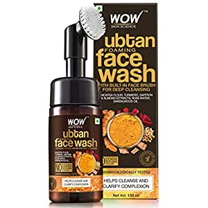WOW Skin Science Ubtan Foaming Face Wash with Built-In Face Brush for Deep Cleansing - No Parabens, Sulphate, Silicones & Color, 100 ml