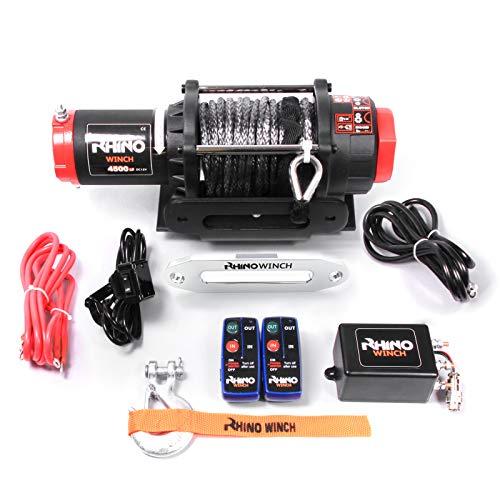 Rhino - Treuil électrique - télécommande sans fil - câble Dyneema/plus dur que l'acier - noir carbone - 12 V - 2040 kg