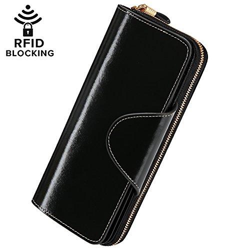 Damen Geldbörse Brieftasche aus Echt Leder Geldbeutel Geldtasche mit RFID Schutz, größer Kapazität, Multi-Kartensteckplatz auch als Handtasche bester Geschenk für Geburtstag Valentinstag-Schwarz (Leder Handtaschen Und Geldbörsen)