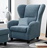 Ohrensessel, blau, Breite: 90 cm, Stoff | Relaxsessel | Fernsehsessel | Schlafsessel | Lesesessel | Ruhesessel