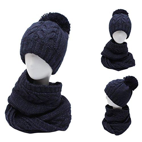 Blau Stricken Hut-set (Butterme Damen warme Strickmütze und Kreis Schal Set warme dicke Wintermütze stricken Pom Pom Beanie Cap Slouchy Hüte)