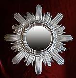 Ideacasa Spiegel Sonne Silber Spiegel Silber Barock Fake Vintage 42cm Durchmesser Sun Mirror