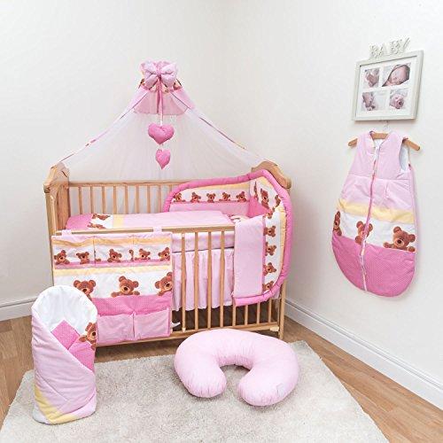 10-teiliges Baby Bettwäsche Set 140x70cm mit dickem Kinderbett Schutz Muster 8