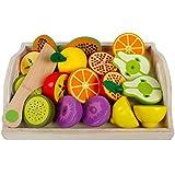 Giplar Magnetische Holzspielzeug - Holz Gemüse Spielzeug Küchenspielzeug Schneiden Gemüse Lebensmittel Holztablett mit Holzobst/Gemüse