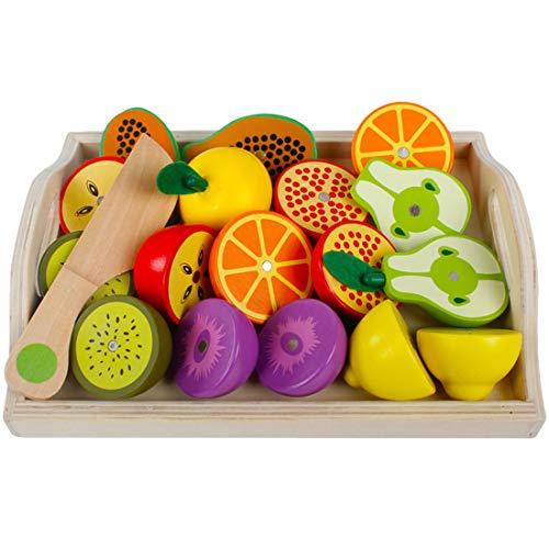 ZUJI Holz Obst und Gemüse zum Schneiden Lebensmittel Einkaufskorb Kinder Spielzeug Küchenspielzeug Lernenspielzeug für Kinder Rollenspiele (Obst) -