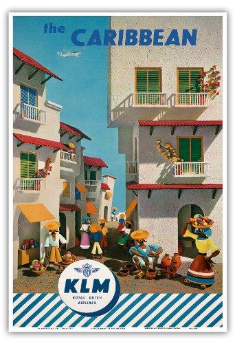 the-caribbean-royal-dutch-airlines-klm-vintage-airline-travel-poster-by-j-f-van-der-leeuw-c1960s-mas