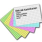 Karteikarten 1000 Stück A6 farbig kariert