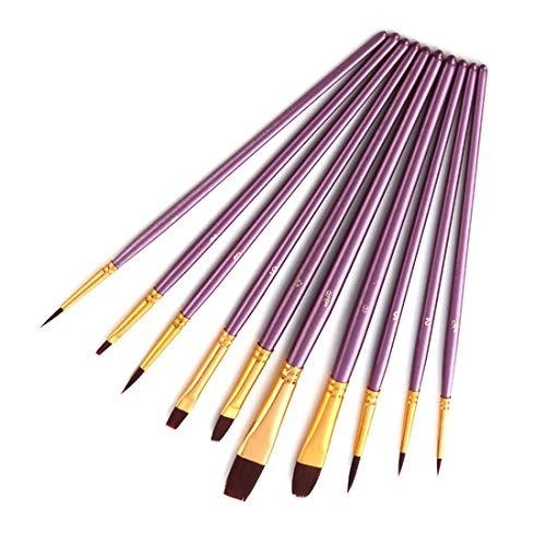 LINDANIG Nylonbürsten-Set, mit Wasserkreide, Aquarellstift, Acrylpinsel, 10 Stück violett