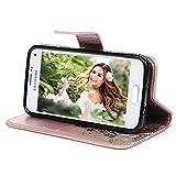 Geniric Flip Handy Hülle für Samsung Galaxy S5 Mini Leder Wallet Cover Stand Case Card Slot Tasche Karteneinschub Magnetverschluß Kratzfestes Gold Bunte Schmetterlinge mit Stylus Stift Staubstecker Test