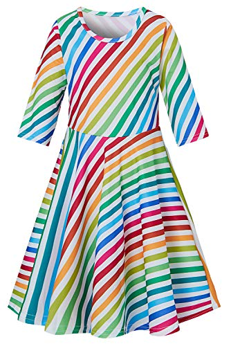 Funnycokid Kinder Mädchen Kleider Heilige Kommunion Party Dress Up Weiche Atmungsaktive Sommerfest Urlaub Kostüm für Kinder Im Alter Von 8-9 Jahren (Urlaub Kostüm Kinder)