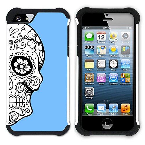Graphic4You Mexikanische Zuckerschädel Tod (Wasserblau) Hart + Weiche Kratzfeste Hülle Case Schale Tasche Schutzhülle für Apple iPhone SE / 5 / 5S Babyblau