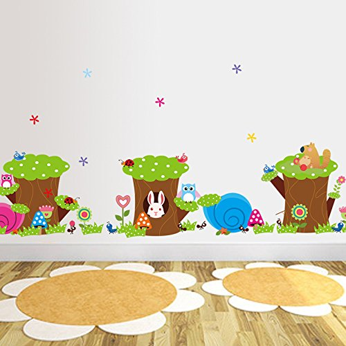 lapin-animaux-hiboux-oiseaux-champignons-les-fourmis-souche-darbre-fleurs-sticker-mural-sticker-home