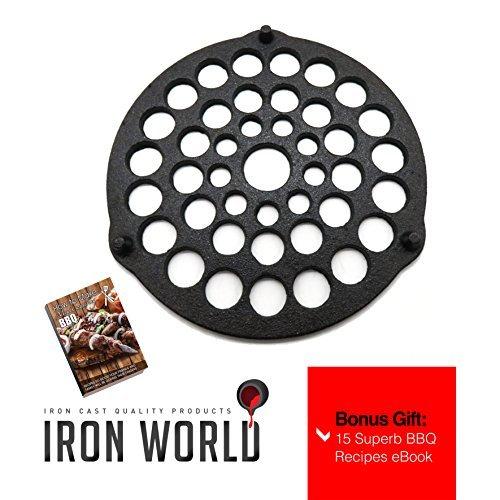 Gusseisen Fleisch Rack/Untersetzer by Eisen World | Hand Made, schwarz, vor Seasoned | gratis Bonus BBQ Rezepte eBook