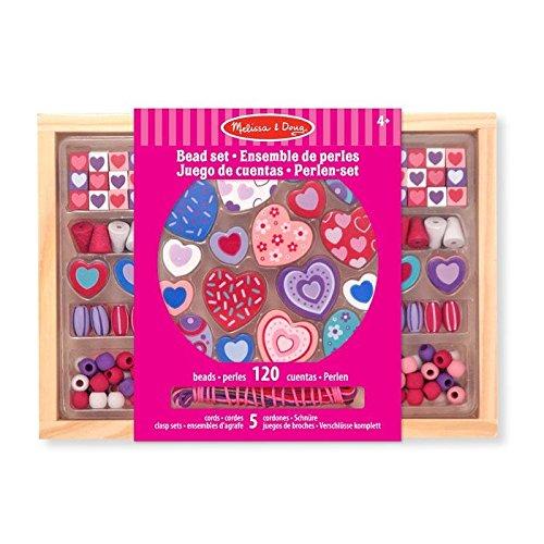 Melissa & Doug Holzperlen-Set Süße Herzen (120 Perlen)