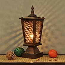 LUCKY CLOVER A Lampe De Table Thaï En Bois Massif Tissage HôTel ÉClairage  CréAtive RéTro