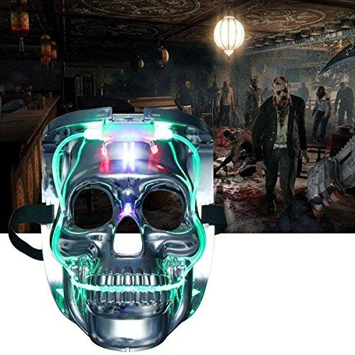Global Silver Light Up LED Skeleton Skull Rave Maske Halloween Cosplay Kostüm - Light Up Rave Kostüm