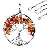 JOVIVI Edelstein Chakra-Anhänger Baum des Lebens Anhänger Pandent mit 56cm Kette,Lebensbaum Halskette für Damen Herren (Rot Achat)