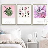 XWArtpic Dipinti su Tela romantici Fiori Rosa Moderni Stampa su Foglia Verde Poster su Tela Immagini nordiche da Parete per Arredamento Camera da Letto 60 * 100 cm