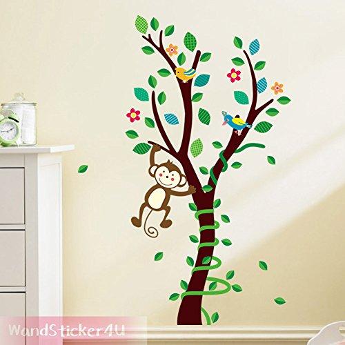 wandsticker4u-albero-con-scimmia-multicolore-foresta-uccello-decorativo-adesivo-da-parete-adesivo-da