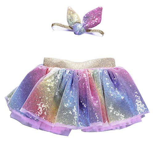 k Rainbow Glitter Pailletten Tüll Ballett Tutu Rock mit niedlichem Kaninchenoid, Haarband Prinzessin Girls Party Kostüm 3 ()