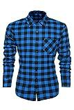 Coofandy Herren Hemd Freizeit Karierthemd Slim Fit Langarmhemdshirt Blau XL