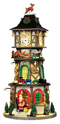 Lemax - Christmas Clock Tower - Beleuchteter & Animierter Weihnachts-Uhrenturm mit Sound - 4,5V Adapter - Weihnachtsdorf (Clock-impuls)